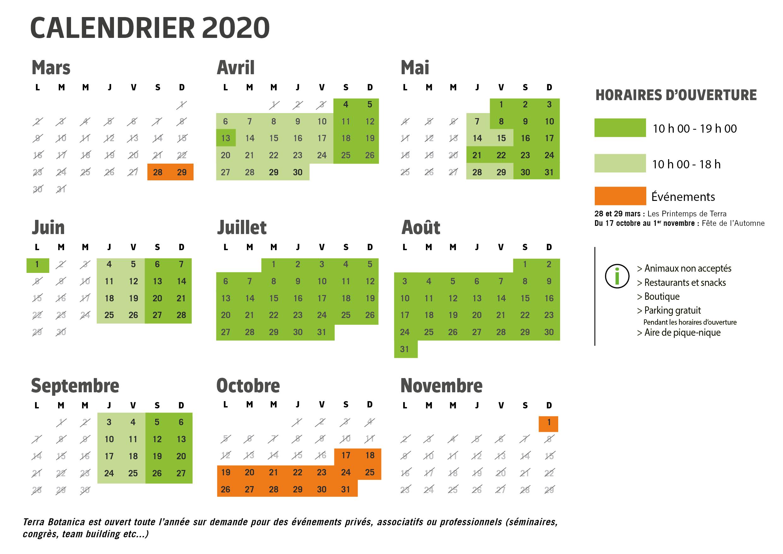 Calendrier 2020 sans horaires jaunes